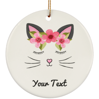 Pink kitty cat ornaments