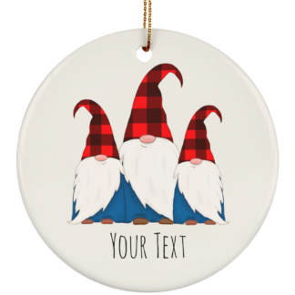 Buffalo Plaid gnome ornament