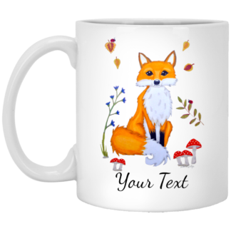 personalized ceramic white fox mug 11oz