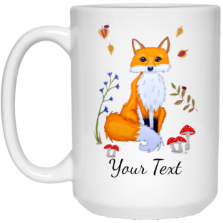 personalized white fox mug
