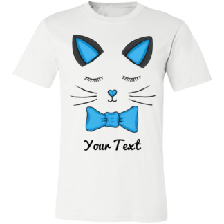 Men shirt kitty cat family blue