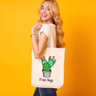cactus tote bag free hugs