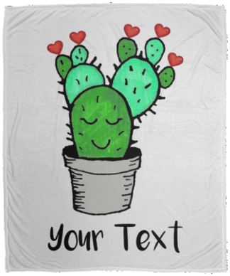 Valentines Day Cactus throw blankets