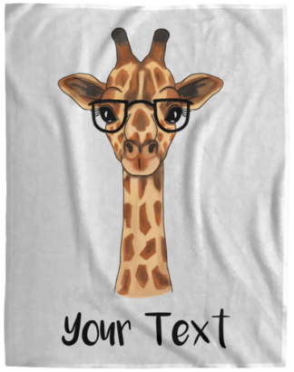 personalized giraffe blankets with glasses