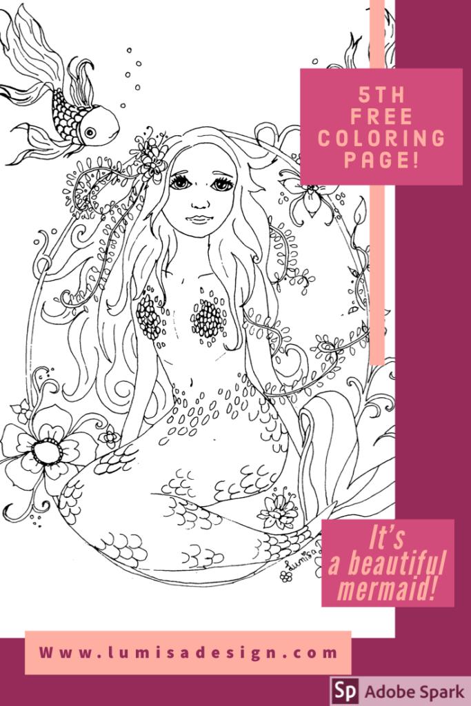 free mermaid coloring page