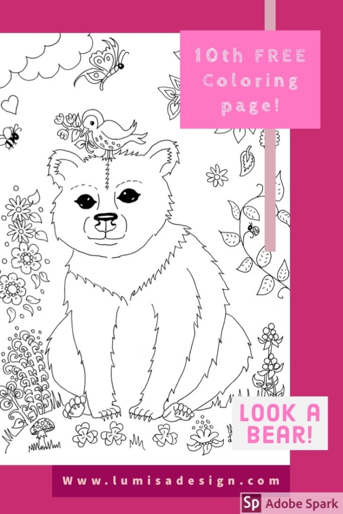 free Bear coloring page