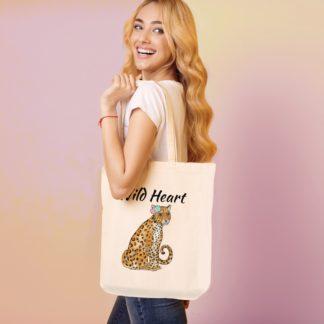 Wild heart leopard tote bag