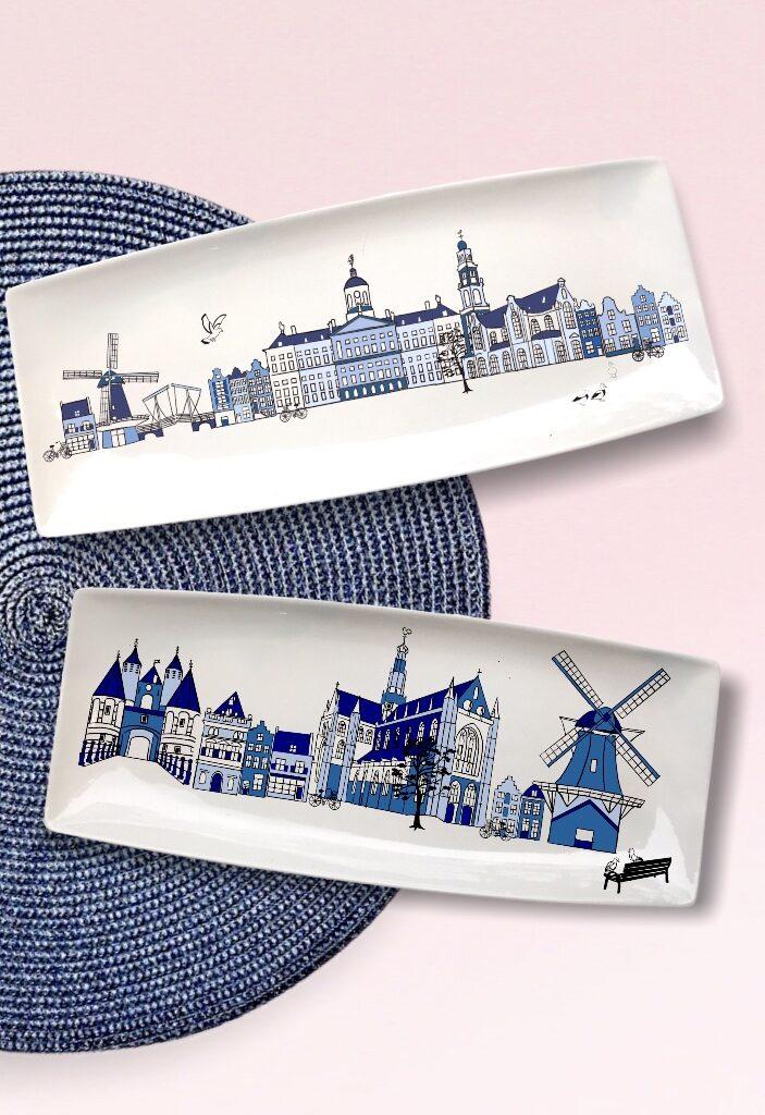 schalen met skyline van stad naar keuze in delfts blauw